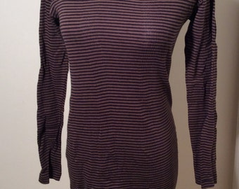 Vintage Edith A Miller Brown and Black Striped Stretch Dress, Size M, Made in USA
