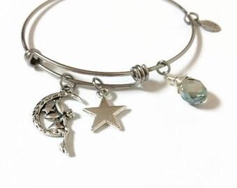 Moon Fairy Expandable Bracelet Fairy Charm Bangle Bracelet Fairy Adjustable Expandable Stacking Wire Bangle Fairy Charm Bangle (JB94)