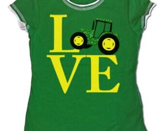 Tractor Love - Girls Green and White T Shirt – Girls shirt – big green tractor