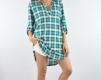 Clearance Plaid summer tunic S to XL