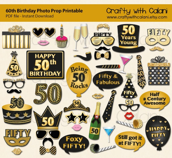 50th Birthday Party Photo Booth Prop Fiftieth Birthday Party