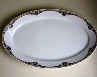 Large Serving Platter Holiday Serving Plate Art Nouveau Pattern Resturant China