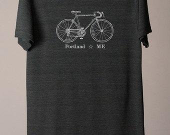 Portland Maine tee, Portland Maine tshirt, Portland bike tee, bicycle tee