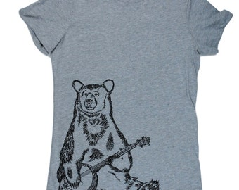 Womens TShirts - Banjo Bear Womens Tee - Cool TShirts - Womens Animal T Shirt - Cute Tshirts - Bear Tshirt - Gift for Women - Grey TShirt