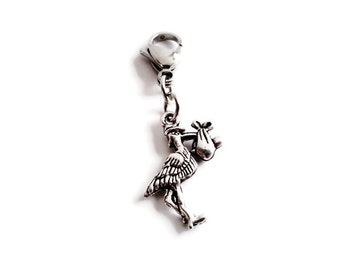 Stork Zipper Pull Charm; Silver Diaper Bag Tag, Clip On Purse, Bracelet, Baby Charm, Clip On Key Chain, Metal Accessory, Stocking Gift Idea
