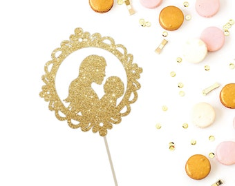 Baby Shower Cake Topper - Beautiful, Glitter Mother and Baby Cake Topper - Mother to Be Party Decoration - Gender Reveal , Welcome Baby