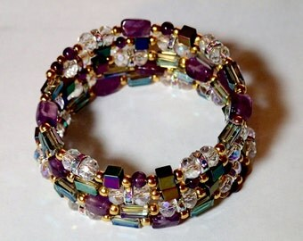 Amethyst and crystal wrap around coil bracelet, purple gold elegant memory wire bracelet, evening formal bracelet