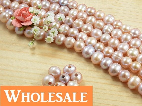 WHOLESALE 8mm - 9mm, large hole (2.5mm) genuine freshwater pearls,  natural round, natural lavender/ purple color - 40+ PCS per strand