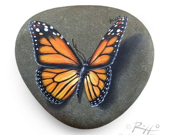 Original Hand Painted Monarch Butterfly Resting on A Rock | Unique Painted Rock by Roberto Rizzo