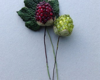 Vintage Millinery Trim-Floral Crafting Supply-Forest Green Velvet Leaf and Two Berries