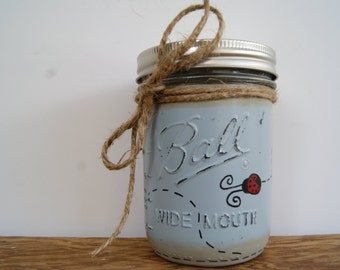 Mason Jar Ladybug Decor Bathroom Decor Mason Jar Decor Painted Mason Jars