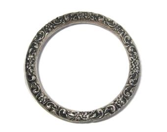 Antique Repousse Bangle Bracelet Ornate Sterling