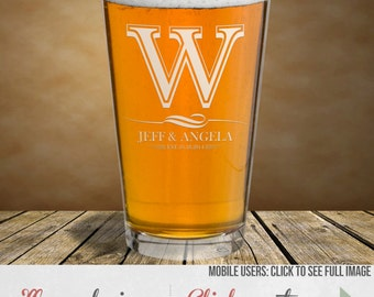 Beer Glasses Personalized for Wedding - Etched