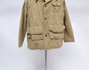 vintage hunting jacket shooting 1960s canvas extra large