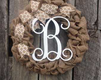 burlap wreath monogram door wreath initial wreath, burlap monogram wreath, letter door hanger, wedding gift