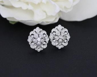 Bridal earrings, Wedding earrings, Bridal jewelry, Rhinestone stud earrings, Art Deco earrings, Wedding jewelry, Bridesmaid earrings