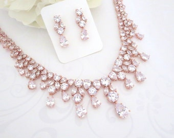Rose gold statement necklace, Rose Gold Bridal necklace, Rose Gold jewelry set, Wedding jewelry, Crystal earrings, Necklace set, Rose gold