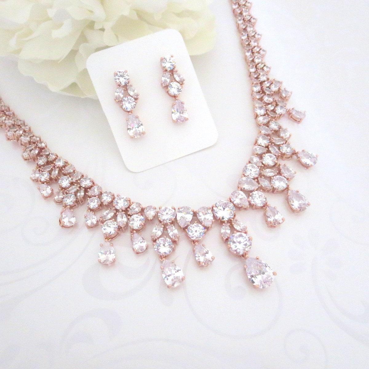 Rose Gold Statement Necklace Rose Gold Bridal Necklace Rose