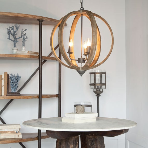 Farmhouse Chandeliers For Dining Room: Wood Orb Chandelier/Farmhouse Chandelier/Cottage