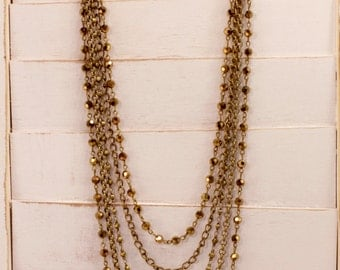 Antique bronze layered chain necklace