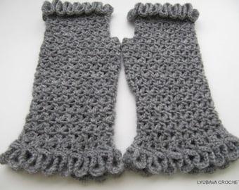 Crochet Fingerless Gloves, Crochet Gift For Her, Grey Gloves, Lace Gloves, Women's Gloves, Crochet Wrist Warmers, Handmade Crochet Gift Idea
