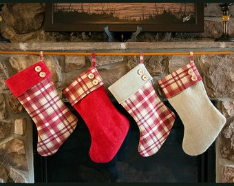 Plaid and Burlap Stocking, Handmade, Burlap Stocking, Personalized, Christmas