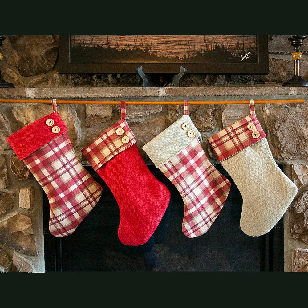 burlap christmas stocking plaid christmas stocking. Black Bedroom Furniture Sets. Home Design Ideas