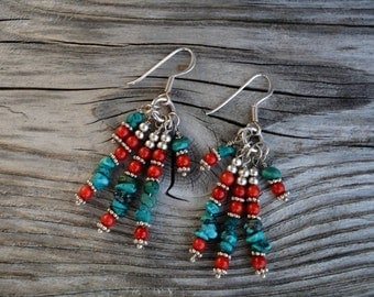 African Goddess - wonderful turquoise coral earrings