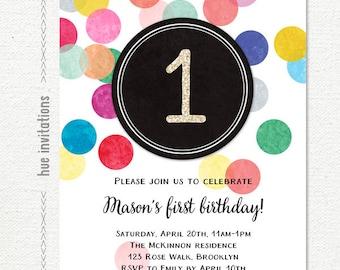 first birthday invitation, rainbow 1st birthday invitation for girl or boy, gender neutral rainbow confetti printable birthday party invite