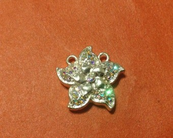 Swarovski crystal silver flower magnetic clasp