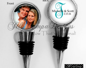 Monogram wine stopper - Wedding Wine Stopper - Photo wine stop - Monogram Wine Stopper - 2 sided wine stopper -  Personalized wine stopper
