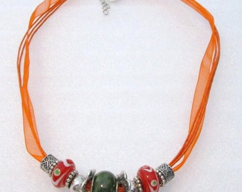 877 - NEW Orange Beaded Necklace