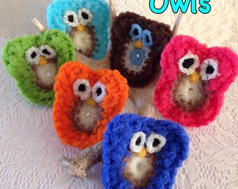 2 Owl Nylon Pot scrubber, Dish Scrubber, Kitchen Pot Scrubbers, Dish Scrubbies, Crochet Pot Scrubber, Scrubbies,  You Choose the Colors