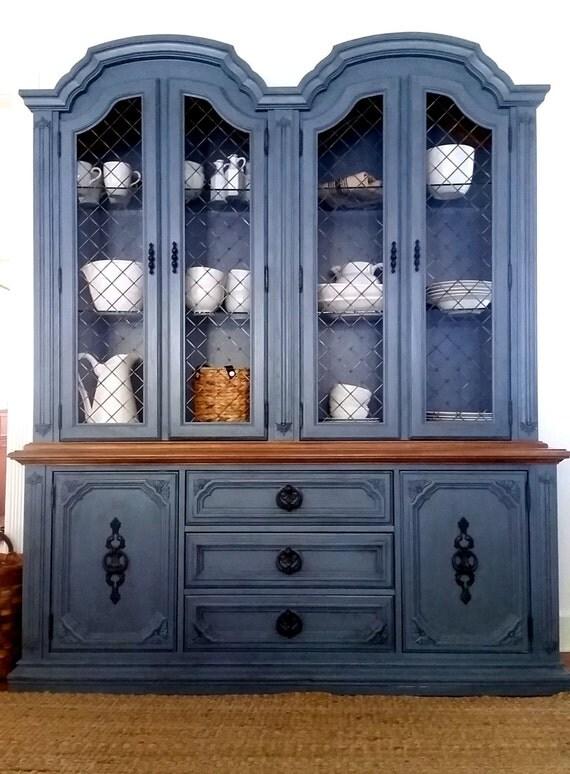 Grey Blue Farmhouse Style Storage Cabinet China Cabinet