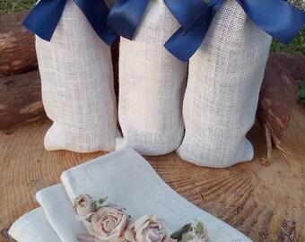 Burlap Wine Bottle Holder - Ivory Burlap Wine Bag - Wine Cozy- Wedding Table Decor - Wine bag - Wine Sack - Qty 6 - Choose color of ribbon