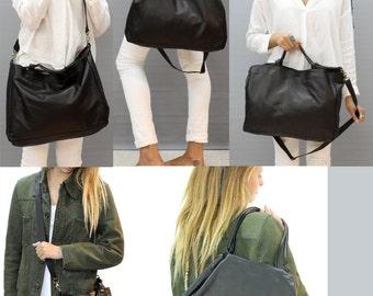 Sale!!! Black leather bag, Womens crossbody bag, Large leather bag, Light weight leather bag