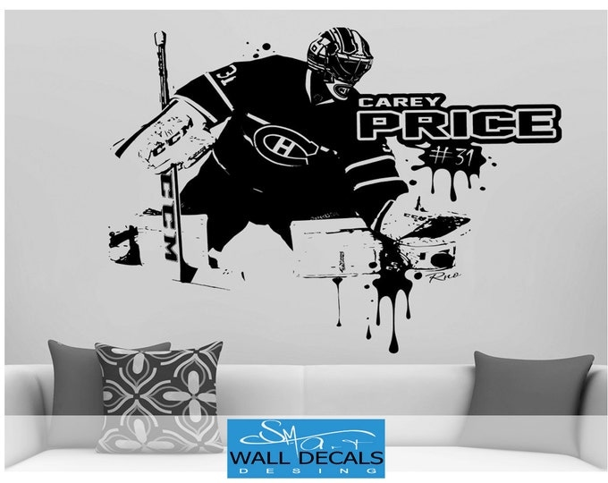 Carey Price Large Vinyl wall Decal sticker- Montreal Canadiens fan Goalie goaltender habs kids bedroom Ice Hockey Wall Decor Wall art jersey