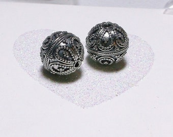 Bali .925 Sterling Silver 13mm Ornate Focal Bead #1908 - (1)