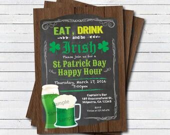 St Patrick's Day party invitation. Eat drink and be irish happy hour drinks invitation. Retro bar chalkboard St Patricks day invite STPAB01