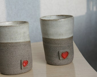 set of two pottery Coffee mugs handless  - 2 ceramic mugs with hearts wedding gift  - anniversary gift idea