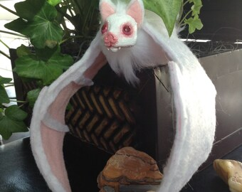 Posable Bat Art Doll - Hair clip - Albino Bat