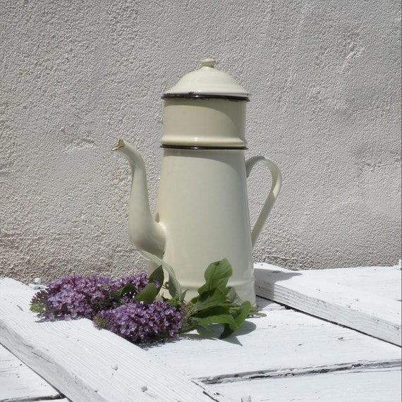 French vintage cream enamel coffeepot, vintage enamelware, enamel cafetiere, cream and green, country home, cottage chic