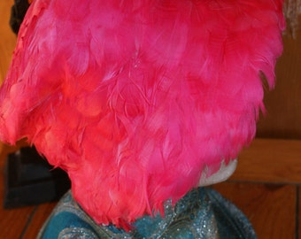 Gorgeous Evelyn Varon Exclusive 1960s Era Pink Feather Hat