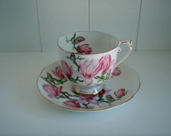 Vintage Roslyn Bone China Tea Cup and Saucer 'Magnolia' 1940's with Pink and Gold