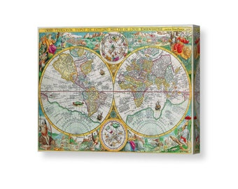 World Map Canvas, Fathers Day Gift, World Map Wall Art, Gift for Men, Map of the World, Cartography, Masculine Wall Art, Canvas Art