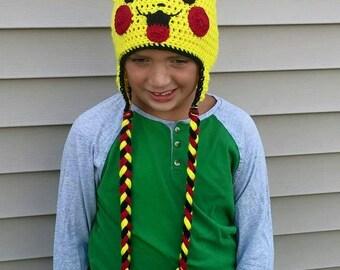 Pikachu hat from Pokemon! Handmade Crochet Hat!