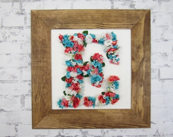 Framed Letter - Large Floral Letter - Housewarming Gift - Coral and Turquoise Nursery Decor - Coral Nursery Decor - Wooden Monogram