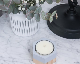SMALL HEXAGON | Wooden Candle Holder | Hand Painted | Complete with a 10+ Hour Maxi Tea Light Candle | Various Colours