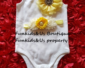 Baby onesie set with matching headband -   Embellished onesie & headband set