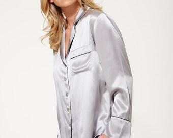 Women's 100% Silk Pyjama Set - Short Pyjama Set - Silk Pajamas - Timeless Design - Beautifully Handmade - Silverlight Grey Colour